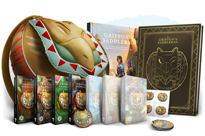 Product image for Griffon's Saddlebag's More Magic Items for 5e, showing books & card boxes