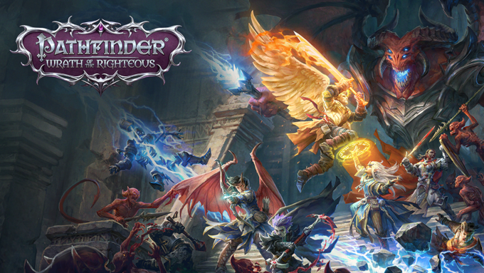 Cover art from Pathfinder: Wrath of the Righteous, showing a party of demonic and celestial characters facing off against one another
