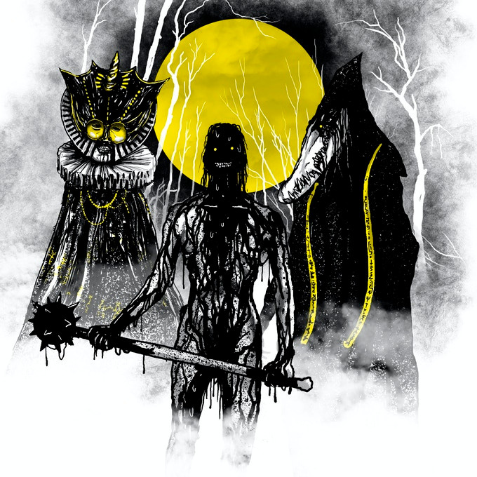Demonic figures silhouetted against a yellow moon