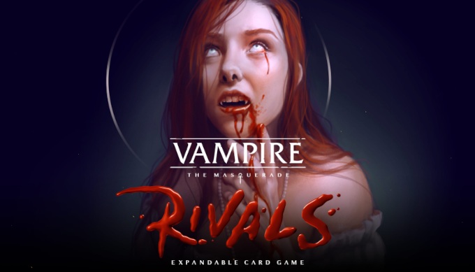 """Art from """"Vampire The Masquerade — Rivals"""" showing a blood-covered vampire gazing blindly up toward the sky"""