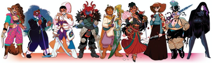 A line-up of queer women swordfighters from Thirsty Sword Lesbians