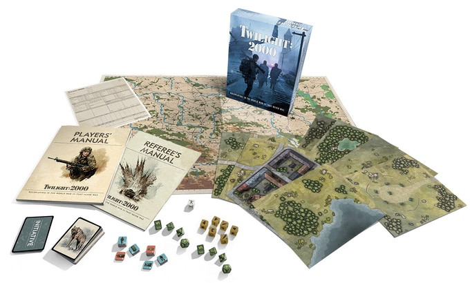 """A spread of game components from """"Twilight 2000"""" including books, cards, maps, dice, a character sheet, and the game box"""